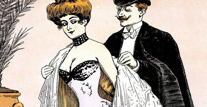 two edwardian people flirting with one another