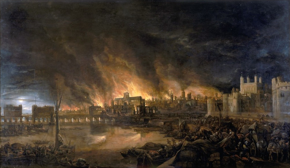painting of the destruction of the Great Fire of London 1666