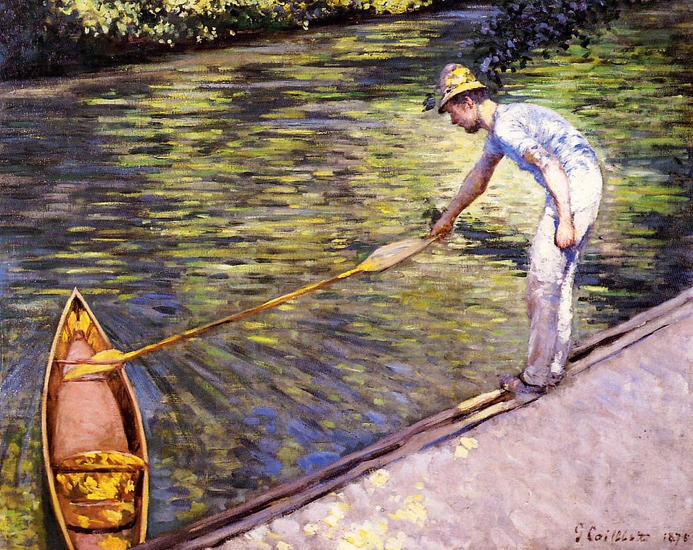 Rabatment in French Impressionist Gustave Caillebotte's Boater Pulling Périssoire 1878