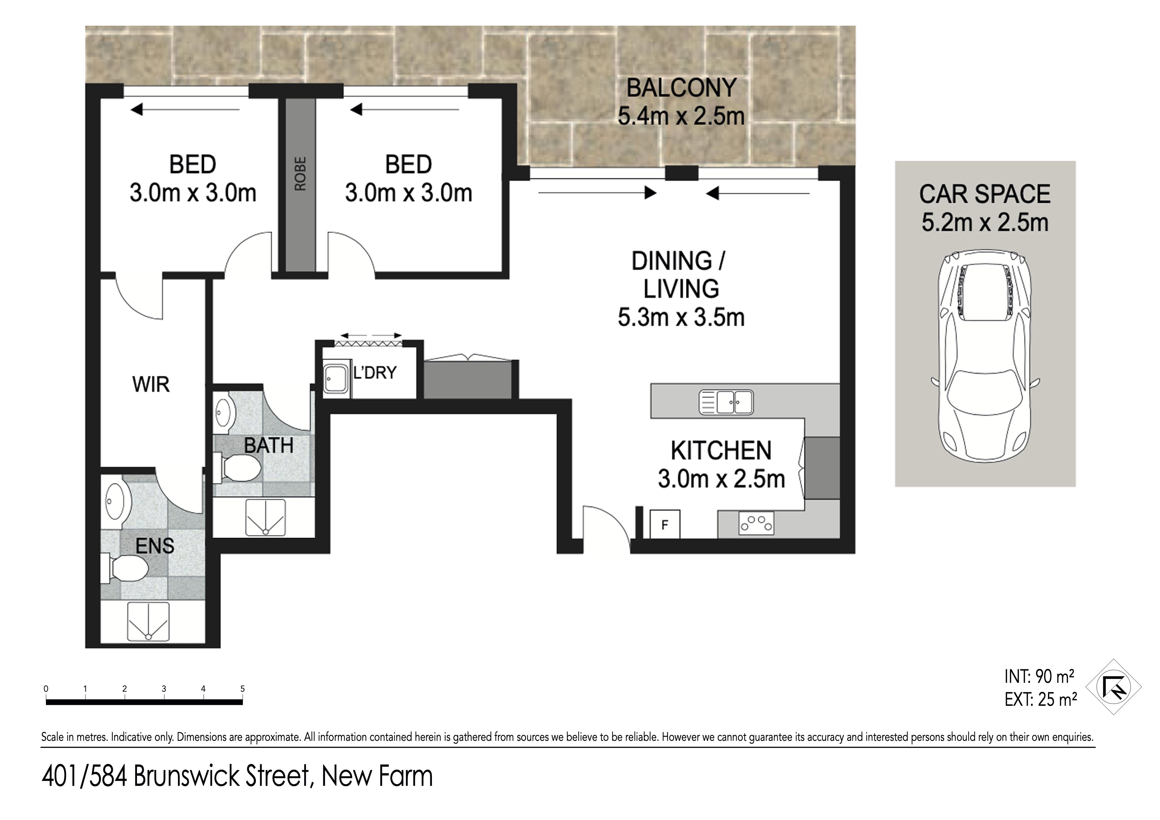 Floor plan - 401/584 Brunswick St, New Farm