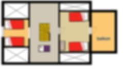 twee slaapkamers met 2 eenpersoons bedden