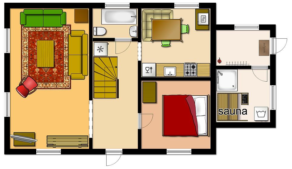 keuken, sauna, badkamer, woonkamer, slaapkamer met tweepersoonsbed