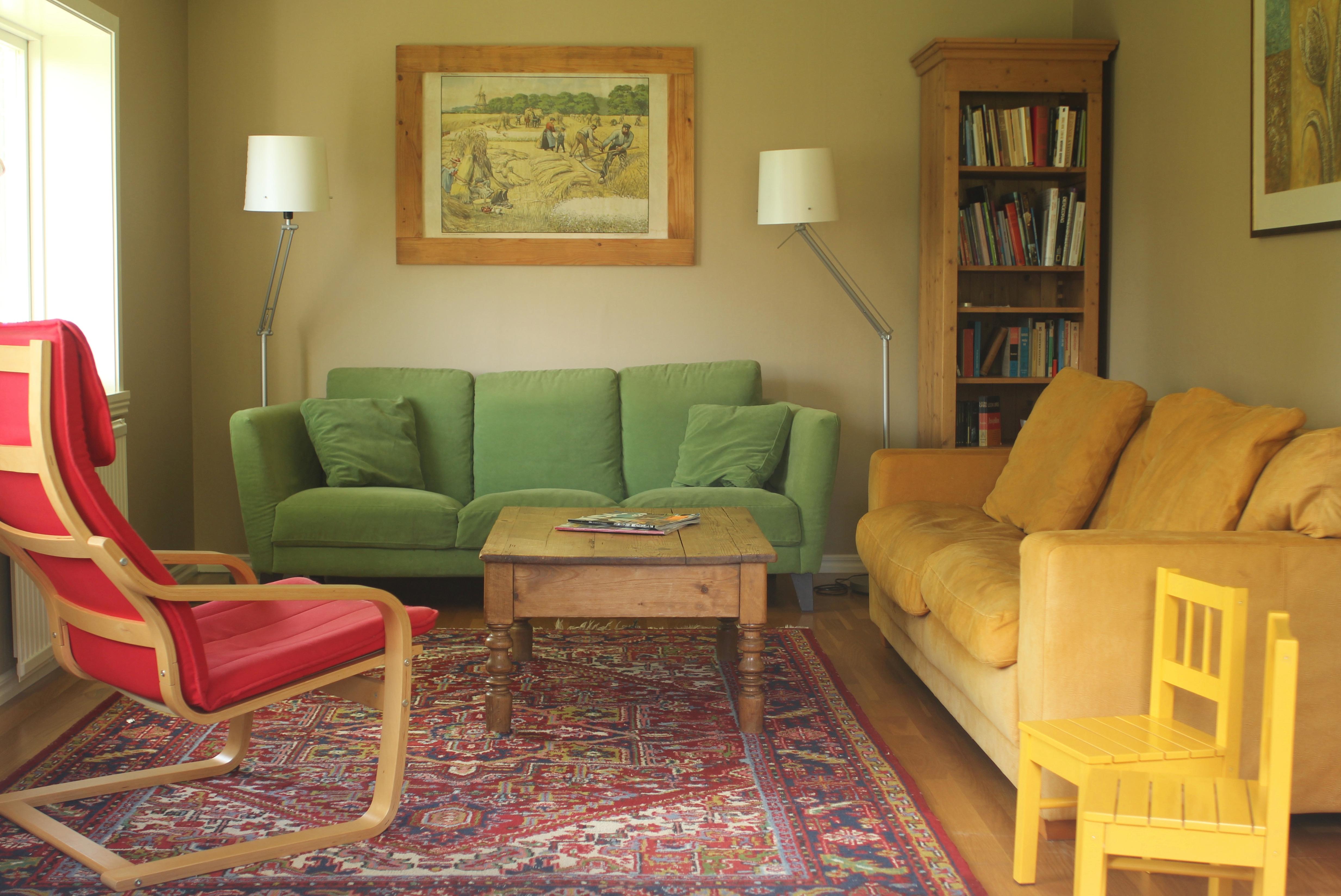 woonkamer van vakantiehuis in zweden