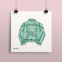 Illustration of denim jacket, part of Victoria's Summer 18 Collection