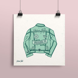 Illustration of denim jacket, part of Victoria's Summer 18 Collection