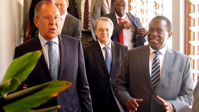 Zimbabwean president Emmerson Mnangagwa with Russian foreign minister Sergei Lavrov in Harare last year.