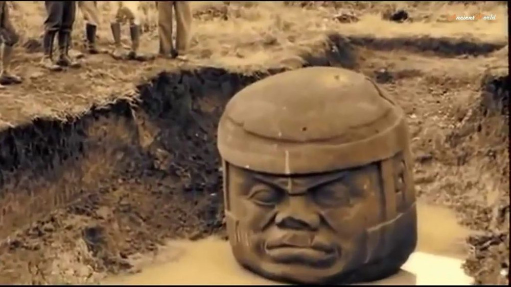 Excavated Olmec head with African features in North America