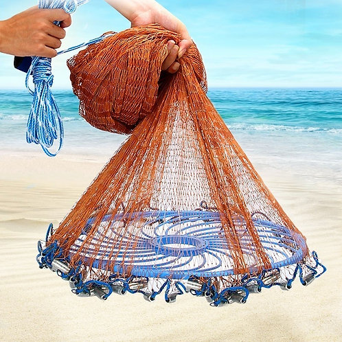 Upgraded American Hand Cast Net With Flying Disc Throw Net