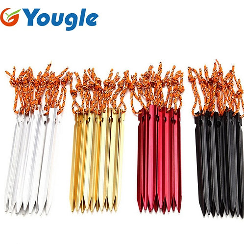 18cm Professional 10 Pcs Aluminument Tent Pegs  With Rope  Stake