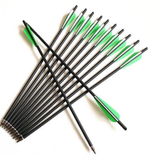 Crossbow Bolt Arrows Carbon Arrow 8.8mm OD - With Green Feather