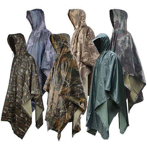 Rain Poncho Waterproof Camouflage Rain Coat Outdoor Camo