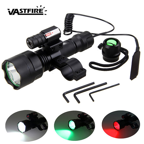 LED Tactical Red/Green/White Light+Laser Dot +Press Remote Switch+20mm Rail