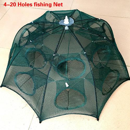 NEWEST 4-20 Holes Automatic Folding Fishing Net Shrimp Crab Fish Trap