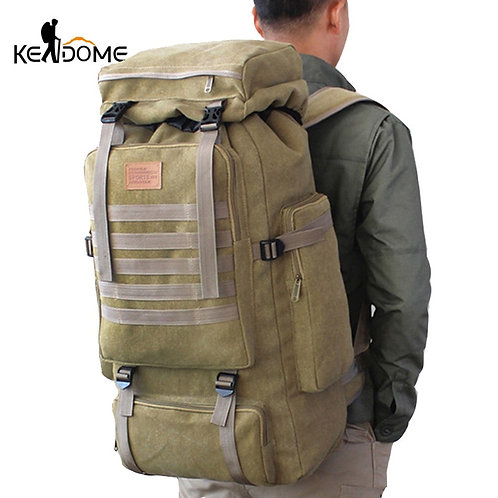 60L Large Military Canvas Backpack Camping Hiking Rucksack Molle