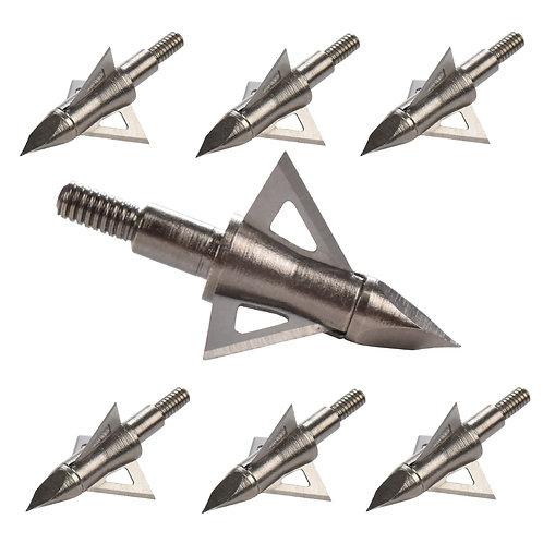 12Pcs Broadhead 100 125 Grain Hunting Arrow Head 3 Blades 8.8mm