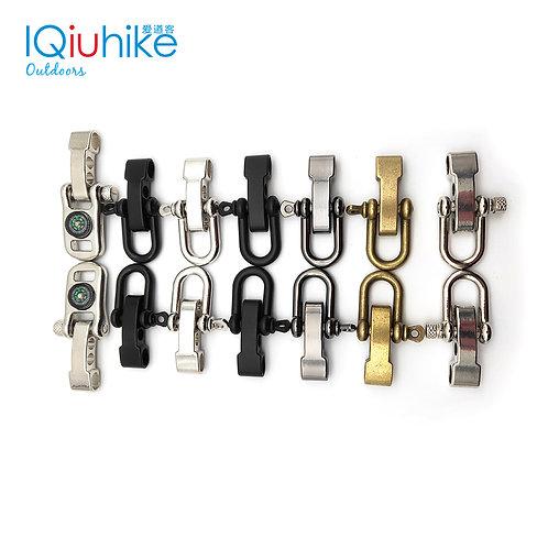 2pcs Zinc Alloy Adjustable U Shape Anchor Shackle Paracord Bracelet Buckle