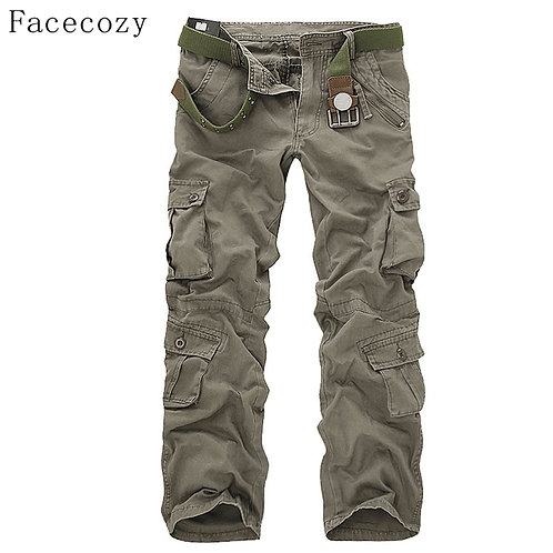 Facecozy Men Tactical Military Cargo Pants Winter Male Outdoor Multi-Pockets