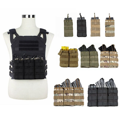 M4 AK AR Tactical MOLLE Nylon Double / Triple Magazine Pouch Tactical Vest
