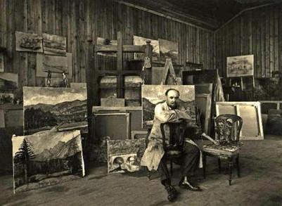 1930 - Il pittore ripreso nel suo studio a Rovetta