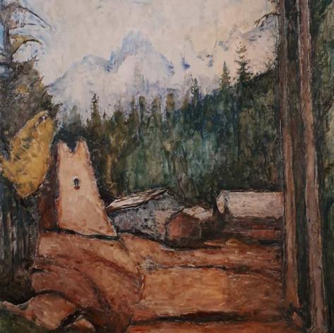 Schilpario. La vecchia fornace, 1932 Olio su tela, cm. 90x70
