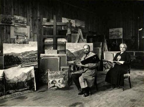 1930 - il pittore con la moglie nello sudio di Rovetta