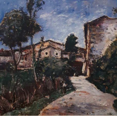Strada di villaggio, 1926 Olio su tela, cm.70x90