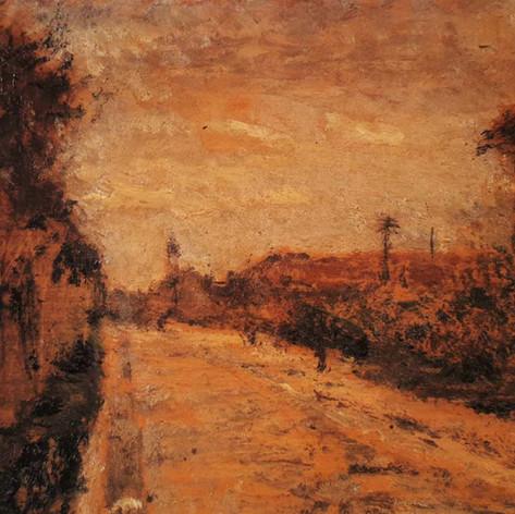 Periferia di Milano (Impressione. Dintorni di Milano), 1913 Olio su tavola, cm.15x25