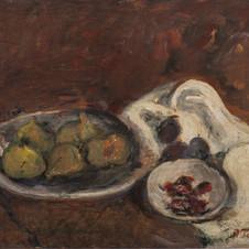 Natura morta con piatto di fichi, 1944 (?) Olio su tavola, cm.40x50 Milano, Collezione privata