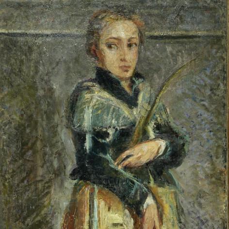 S. Lucia (copia da Moroni), 1894 Olio su tela, cm. 132x63
