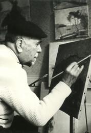 1950 circa - Arturo Tosi all'opera nel suo studio milanese