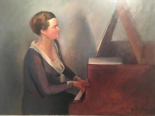 « La Pianiste ». Huile Sur Toile de Etienne Morillon.