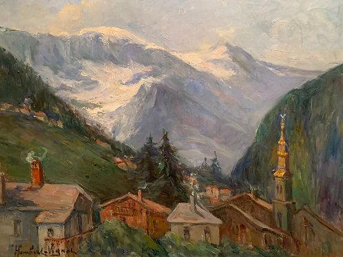 Humbert-Vignot (1878-1960) Le village de Saint-Gervais - Mont Blanc.