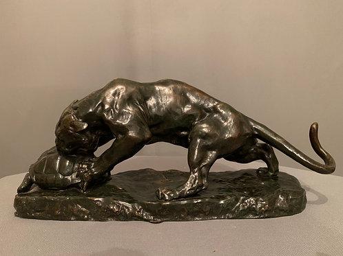 « Le Tigre et la Tortue »  Bronze de Georges GARDET (1863-1939)