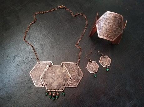 Etched Floral Set: necklace, earrings. bracelet