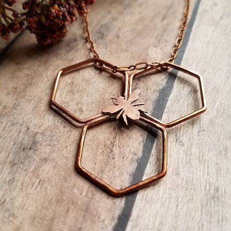 Hand Sawn Copper Bee Necklace
