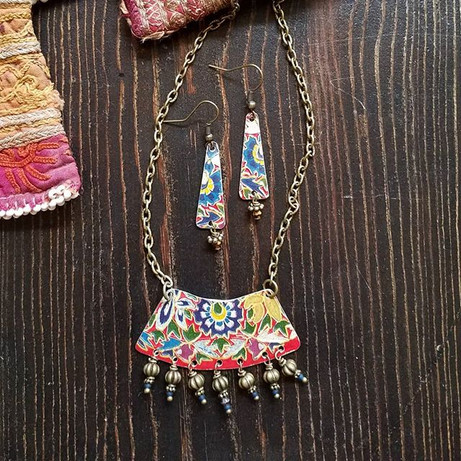 Vintage Tin Necklace & Earring Set