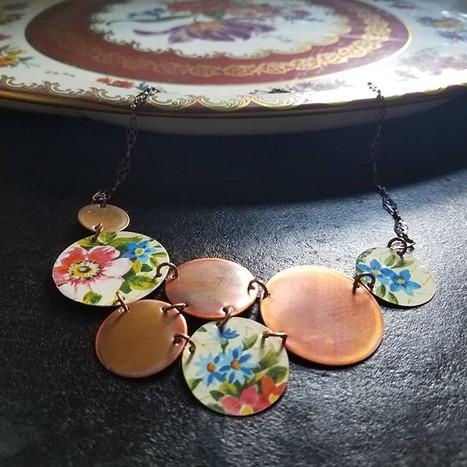 Floral Circle Necklace, Vintage tin & copper