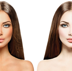 Beautiful young woman with tanned skin before and after tan. Face divided in two parts, tanned and n