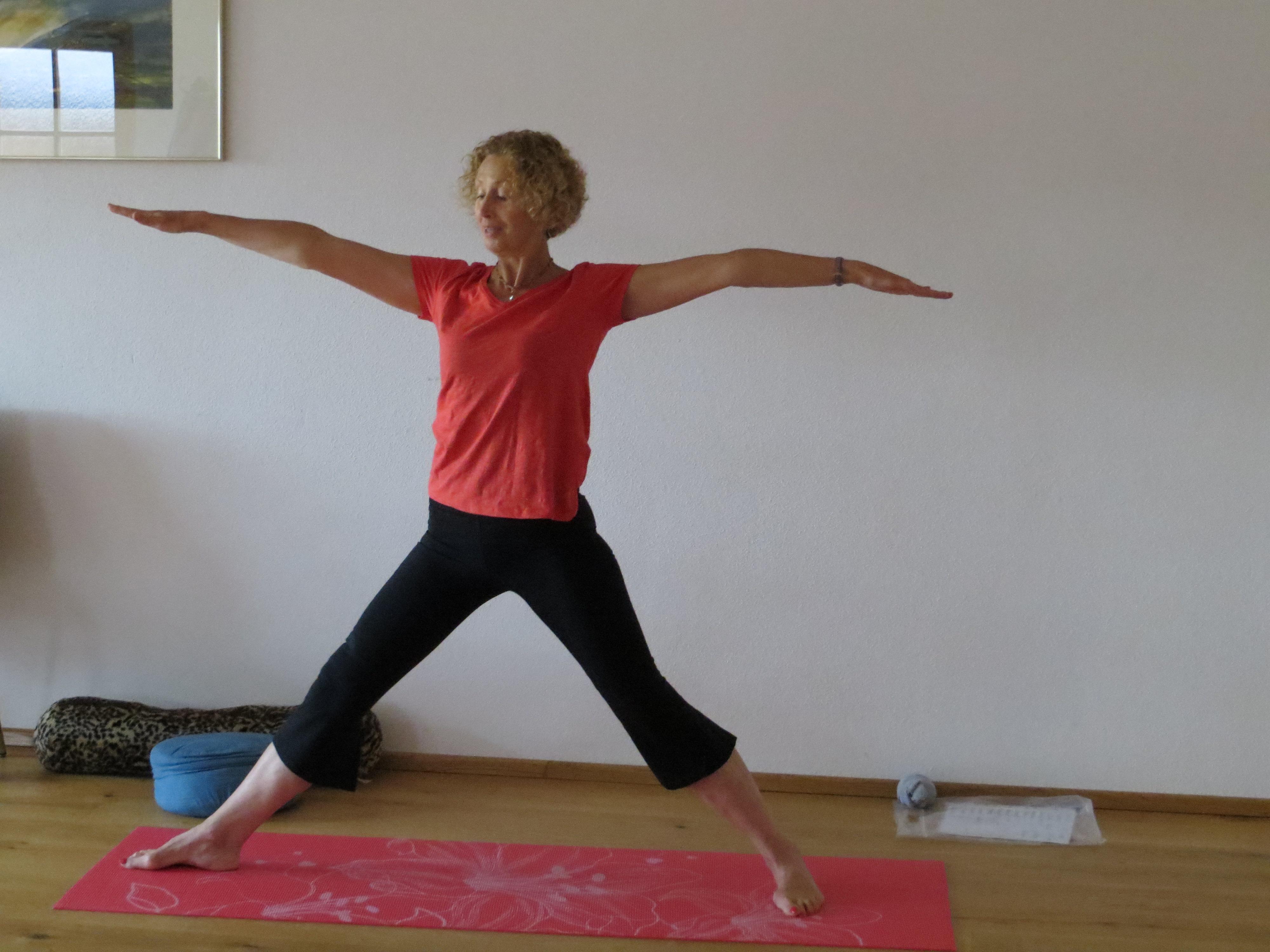 Maggie teaching yoga