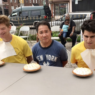 Pie-eating contest.  Who could eat the most pie in one minute?  Could it be John, Soc, or Travis?