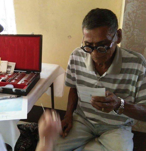 Men and women received free eye exam and free prescription glasses