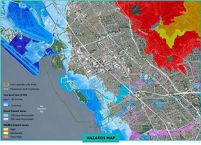 San Leandro climate hazards map.