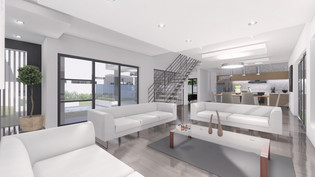 Living to Kitchen View - Architectural Rendering