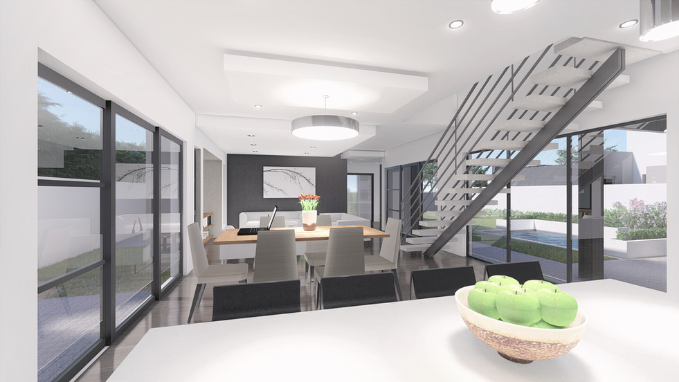 Kitchen to Living View - Architectural Rendering