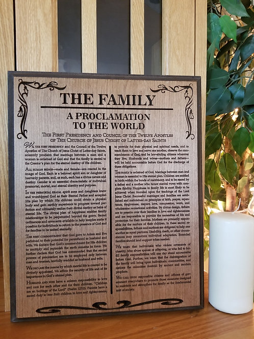 Small Family Procamation Plaque