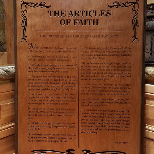 The Articles of Faith plaque