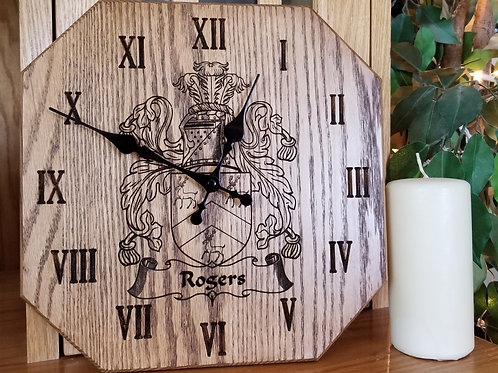 "Family Crest 12"" Solid Wood Clock"