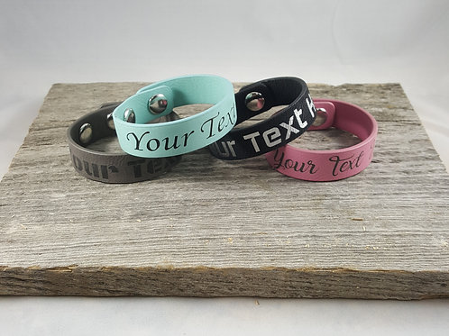 Choose Your Phrase Faux Leather Wristband