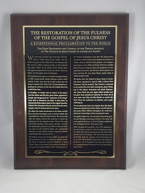 """Restoration of the Fulness of the Gospel"" gold etched plaque"