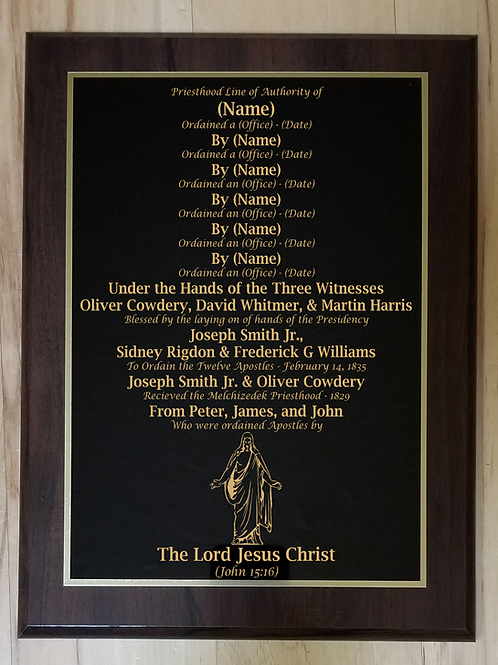 Gold Etched Priesthood Line of Authority plaque